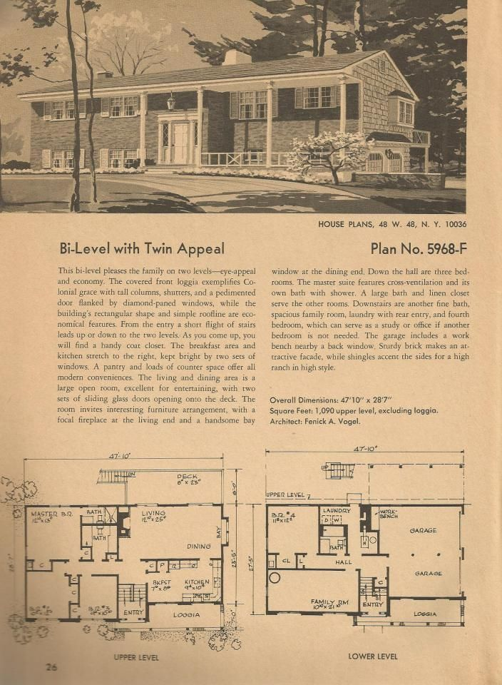 vintage house plans mid century homes plan no 5968 f