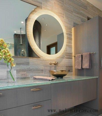 custom circular mirrorled bathroom mirrors