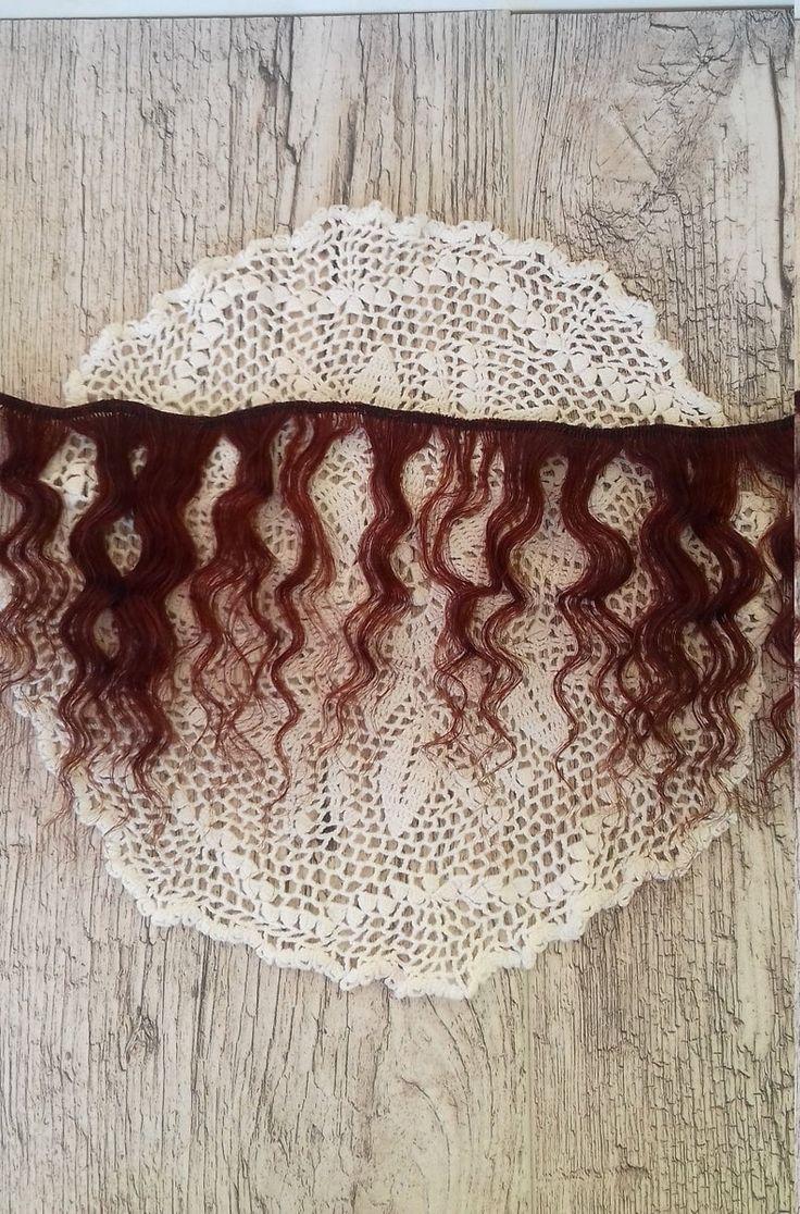 Weft doll hair mohair goat hair 1 m, 30 gr(1,05oz) for waldorf doll wig custom Blythe wig natural Wool Doll Hair Chestnut hair color