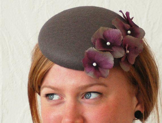beautiful grey felt pillbox hat / fascinator by HeatherFeatherDesign, £45.00