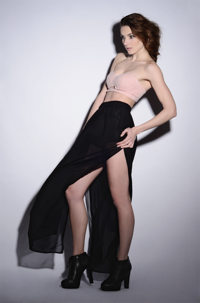 wawak/czajkowska  GIA GIA A/W 13/14  #bralet  #palepink  #cut  #long  #transparent  #skirt  #black