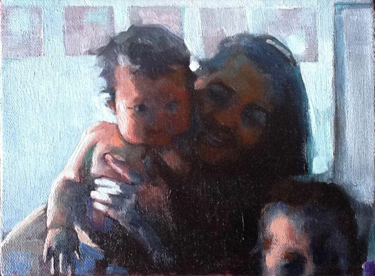 """Imagen materna"" Patricia G. Santiago Óleo y acrílico sobre tela sobre madera. 15 x 20 x 5 cm 2013"