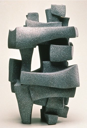 "Abstract Sculpture by Lena Arice Lucas   STRUCTURE OF RELATIONSHIP   view 1 - coil built / constructed clay / ceramic, acrylic, 35"" tall x 18"" wide (at widest)"