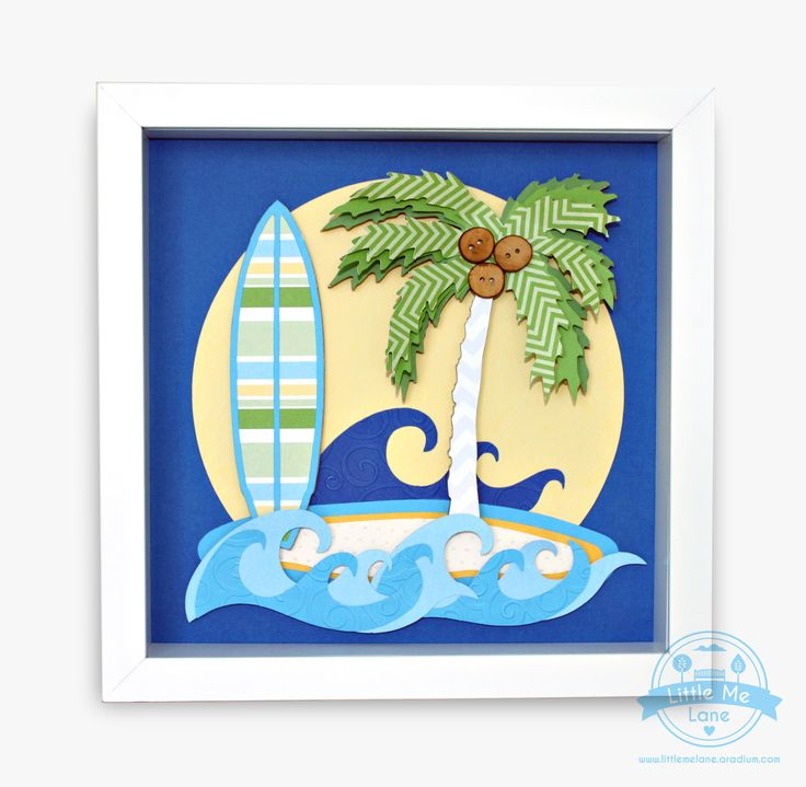Surf and Palm Tree Art - This original handmade collage features unique custom designed papers in blue, green and yellow that are layered and embossed, along with cute little wooden buttons it is the perfect beach scene for your Sons bedroom.  To purchase please visit out facebook store https://aradium.com/7hjka