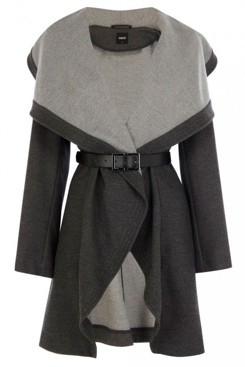 Oasis Two-Tone Drape Coat, £98 - Winter Coats 2013
