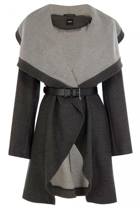Oasis Two-Tone Drape Coat, £98 - Winter Coats 2013