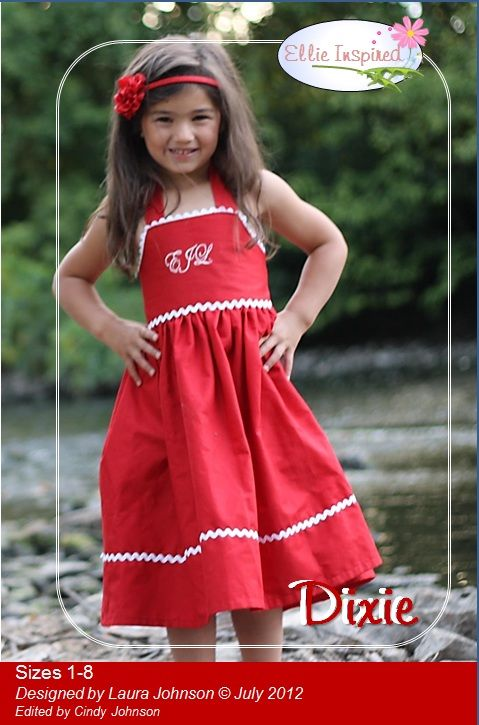 fairytale frocks and lollipops :: ellie inspired, dixie, sundress, girl, toddler, summer, spring, fall, special occasion, halter, criss-cross, criss cross, criscross, stitched, easy, beginner, sewing, sewing pattern, download, e-pattern, pdf, e-book, tuto