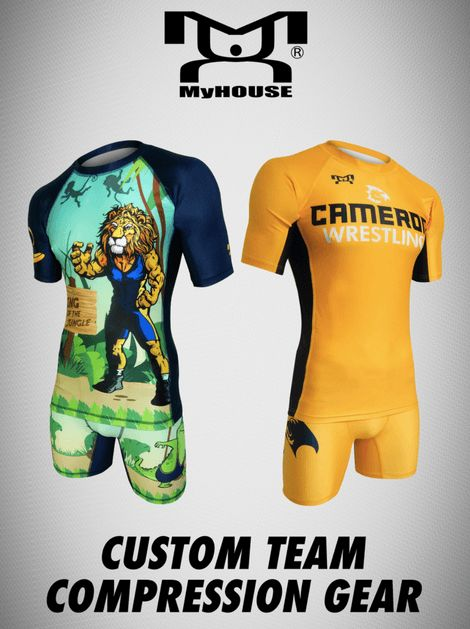 MyHOUSE fully sublimated compression shirts and compression shorts can be customized with your team colors, team name, and team logo. MyHOUSE is the leading seller of custom #wrestling Gear in the USA.