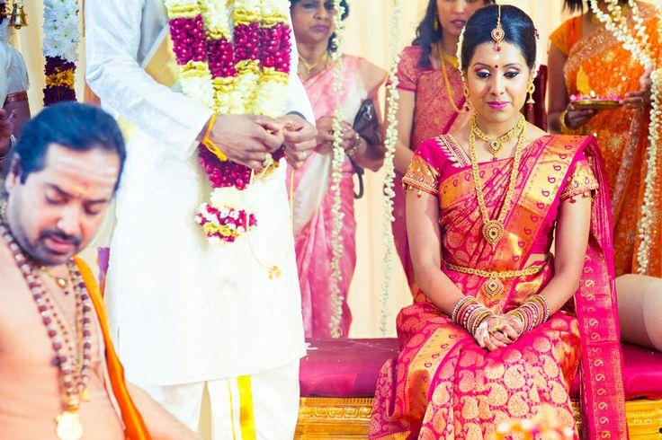 South Indian bride. Red Kanchipuram silk sari. Temple jewelry. Braid with fresh flowers. Tamil bride. Telugu bride. Kannada bride. Hindu bride.Malayalee bride.South Indian wedding.