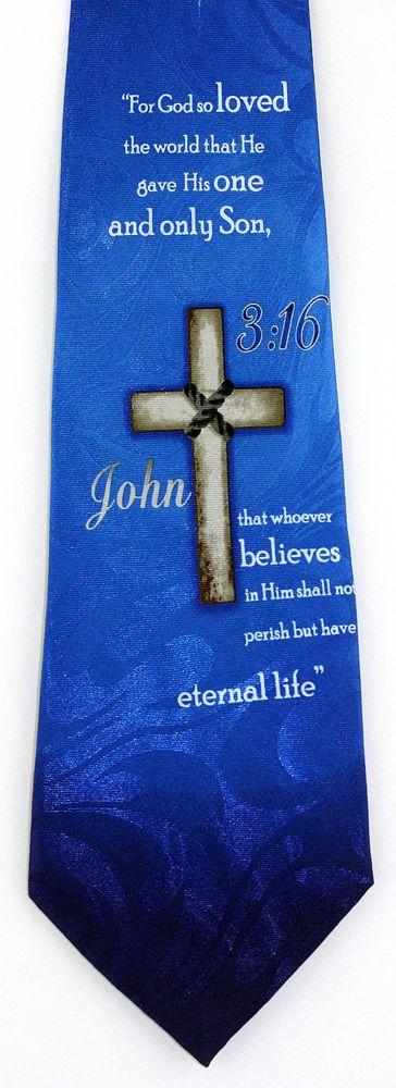 John 3:16 Mens Necktie Christian Jesus Religious Bible Easter Gift Him Tie New #StevenHarris #NeckTie