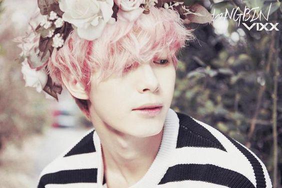 Pastel Pink Hongbin~ ♥ Please dye his hair again Jelpi... VIXX, GR8U era