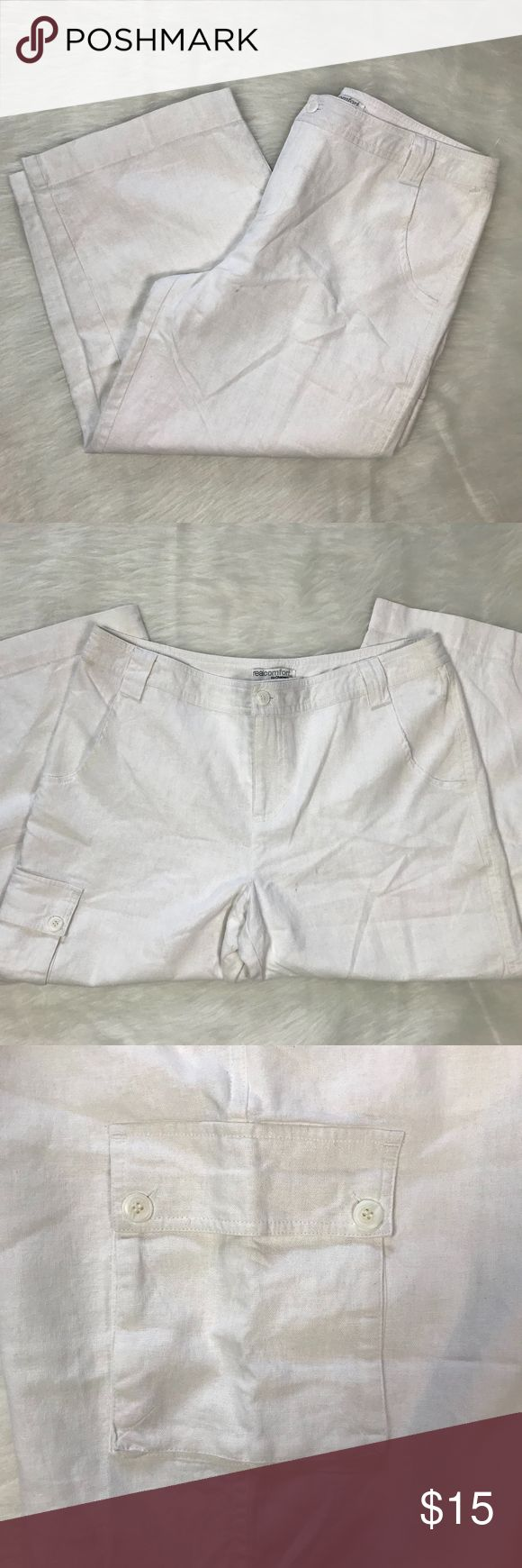 Real Comfort by Chadwicks NWOT Women's White Linen Real Comfort by Chadwicks  New without Tags Capris 55% Linen, 45% Rayon White Cargo Pocket  Machine Wash Cold Delicate Cycle Line Dry Medium Steam Iron Chadwicks Pants Capris