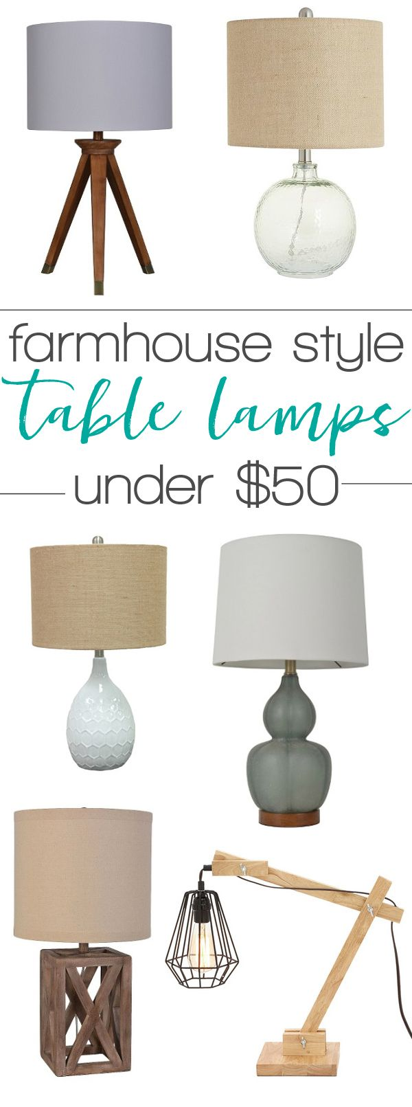Beautiful farmhouse style table lamps - all under $50! Great lighting ideas for the home!