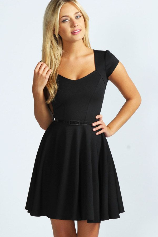 $35, Black Skater Dress: Boohoo Lara Sweetheart Neck Skater Dress. Sold by BooHoo. Click for more info: https://lookastic.com/women/shop_items/164202/redirect