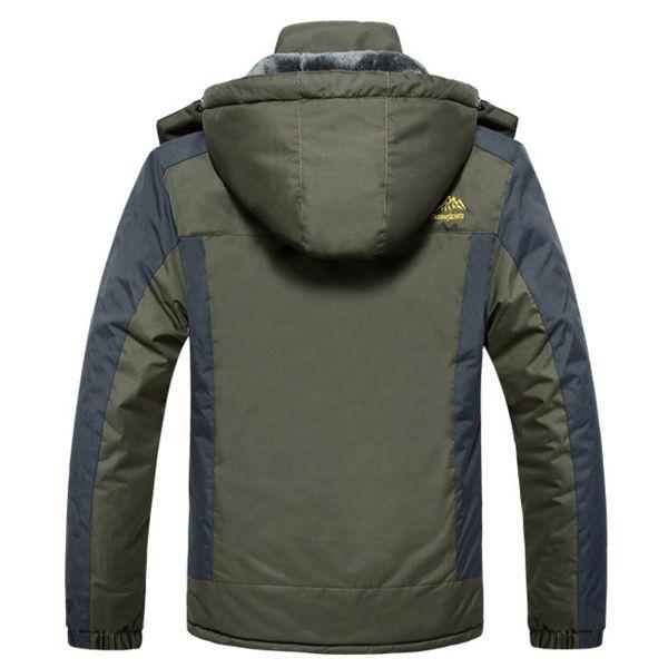 Mens Outdoor Waterproof Windproof Fleece Plus Thick Warm Mountaineering Jackets Big Size S-7XL