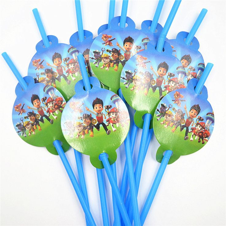 10pcs/lot Cartoon Straw Pattern patrol puppy Theme Party Decoration Disposable Tableware Drinking Straws Party Supplies 01
