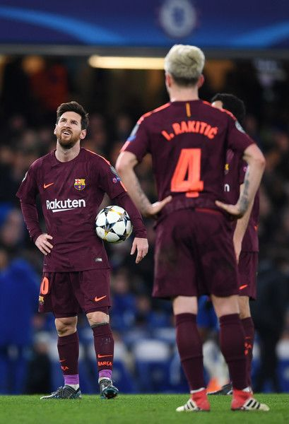 Lionel Messi of Barcelona looks dejected after Chelsea score their first goal during the UEFA Champions League Round of 16 First Leg match between Chelsea FC and FC Barcelona at Stamford Bridge on February 20, 2018 in London, United Kingdom.