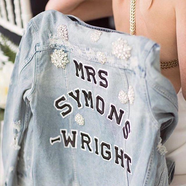 • MRS • A big congratulation to this Mrs who wore our @chosenbyoneday Custom Denim on her wedding day • @lornacwright • #oneday #wedding #bride #mrs  #Regram via @onedaybridal