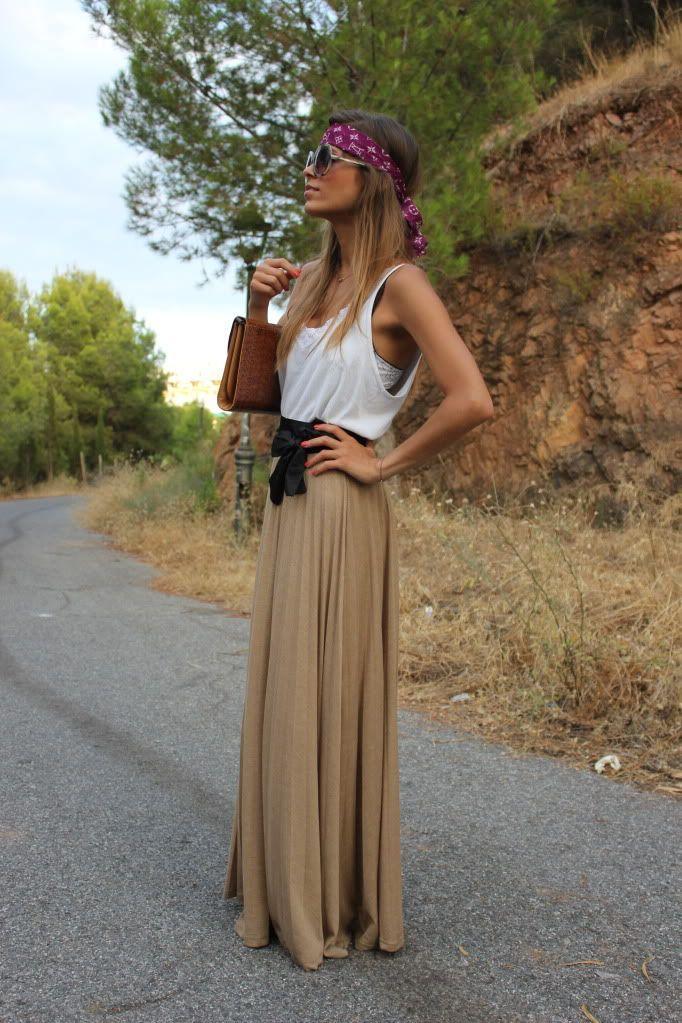 the long, caramel skirt
