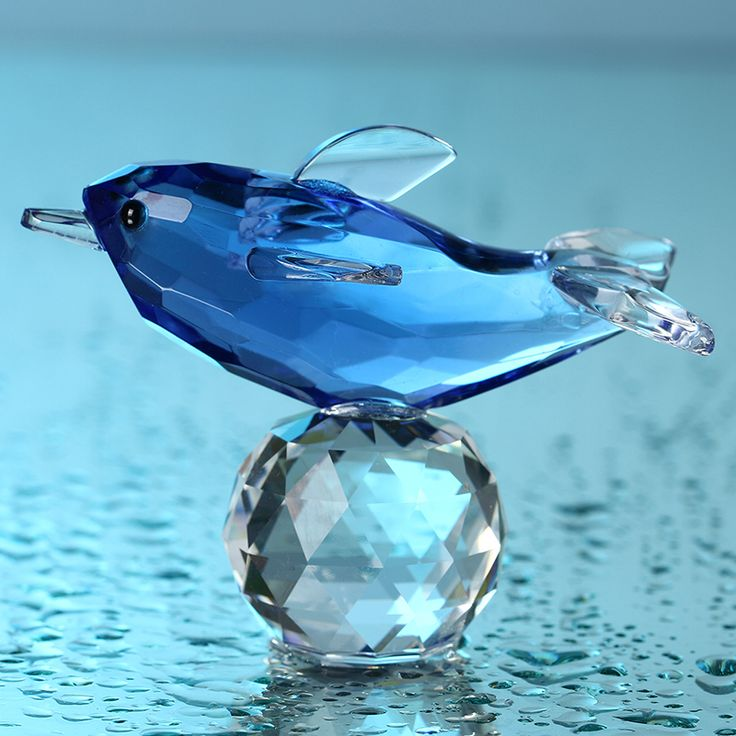 Glas Kristal Blauwe Dolfijn Beeldjes met Crystal Ball Presse-papier Ambachten Collectie Tafel Auto Souvenir Thuis Bruiloft Decoratie(China (Mainland))