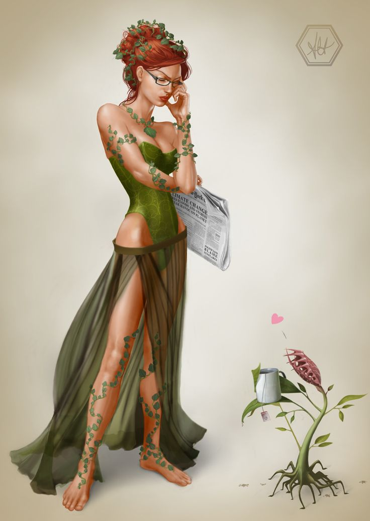Bad News by Alanna Howe:  Poison Ivy was always a favorite of mine when I was younger. Sometimes I wonder how she would react to the constant stream of bad news we get about the state of the planet.    Sketched in pencil, coloured with photoshop,