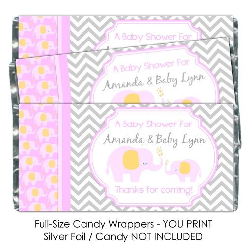 baby shower candy wrappers mod elephant chocolate bar candy wrappers
