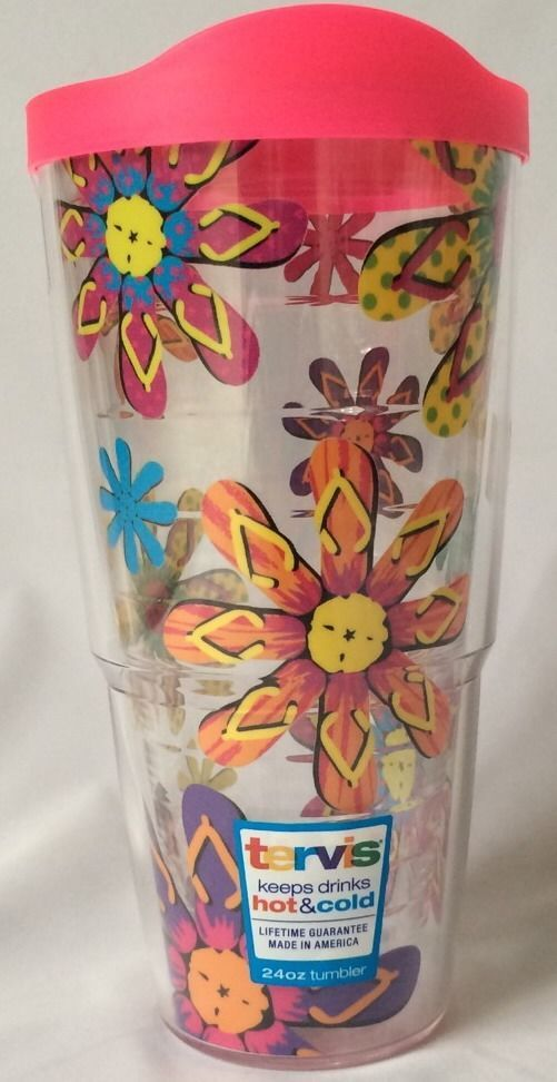 Flip Flop tumbler to go with your day at the beach!  Tervis Tumbler 24 Oz Flip Flop Sandals Pink Lid #Tervis