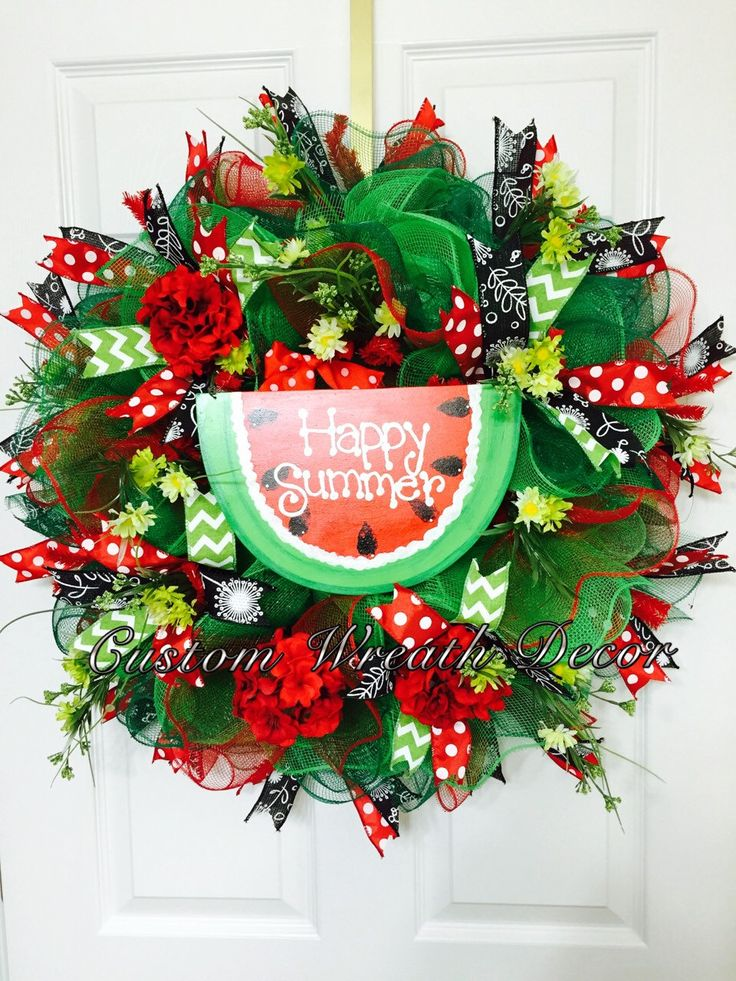 happy summer watermelon wreath summer wreath by customwreathdecor