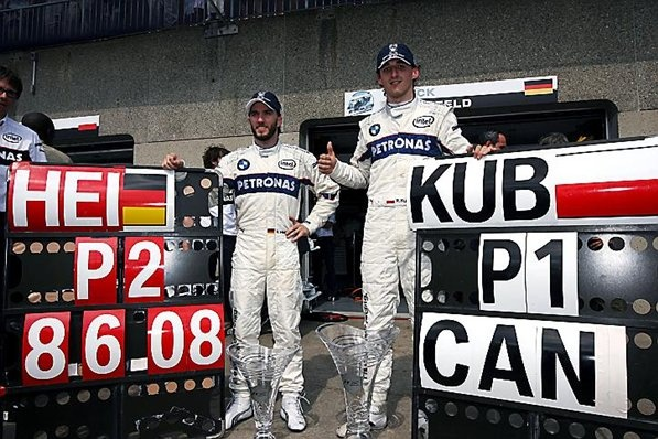 The BMW Sauber team celebrate their first win, a 1-2 finish with Nick Heidfeld (GER) BMW Sauber F1 second, and the first GP win for Robert Kubica (POL) BMW Sauber F1. Formula One World Championship, Rd 7, Canadian Grand Prix, Race, Montreal, Canada, Sunday, 8 June 2008