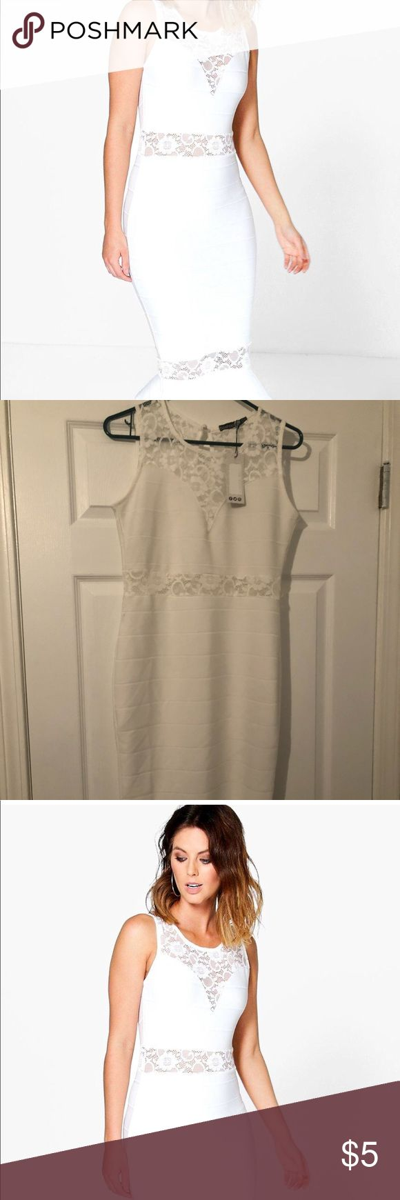 White dress Mid length white dress with lace and ruffle at the hem. Boohoo Dresses Midi
