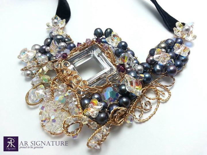Handmade Necklace using Genuine Swarovski Crystal, Fresh water pearl, and 18k Gold plated wire.  www.arsignature.com