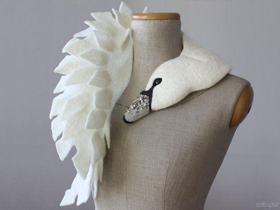 Jewelled Swan felted wool animal scarf stole / shrug / by celapiu