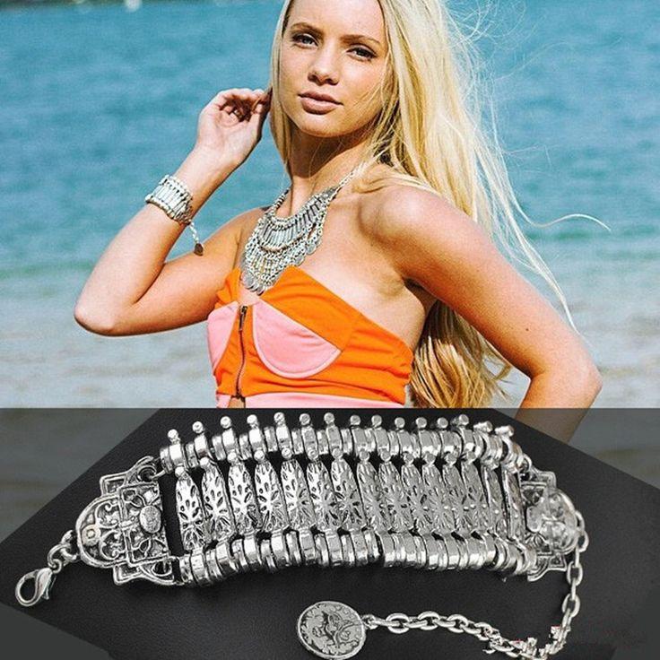 Ну вечеринку хиппи Boho поп-воздушными мотаться серебряная монета браслеты коренастый богемия резные монет браслеты Coachella фестиваль турецкий этнические украшения