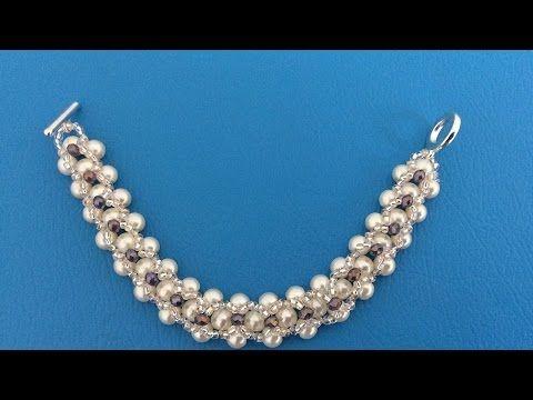 Como hacer Pulsera con Tupis y Perlas SWAROVSKI-Swarovski Pearl Bracelet - YouTube