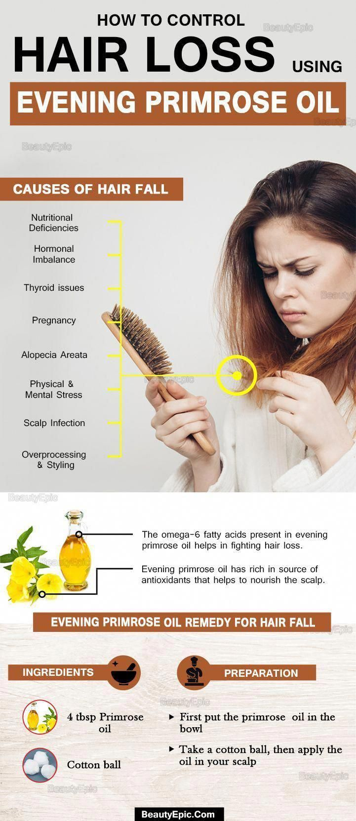 How To Control Hair Loss Using Evening Primrose Oil Hairlossremedywomen Luxuryhaircare Malepatternbaldness Oil For Hair Loss Hair Loss Cure Hair Control