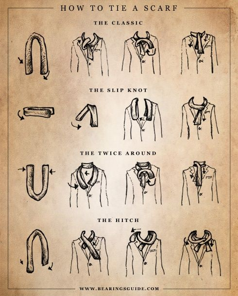 Men's Scarf Tying Styles. If only Seth wore them...