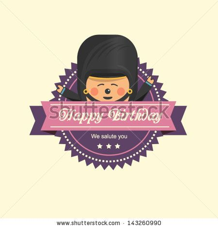 Vintage birthday label with a soldier - stock vector