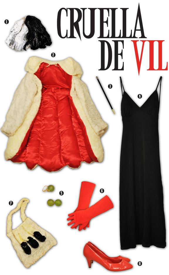 cruella+deville+costume+pattern | Black and White Wig: To get Cruella's signature black and white 'do ...
