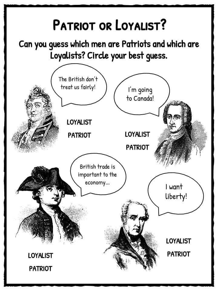 Patriots vs Loyalists Worksheets, Facts and Definition For