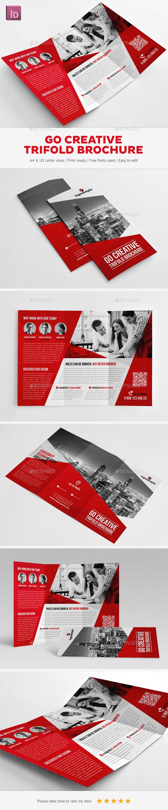 Creative Trifold Brochure Template #brochure Download: http://graphicriver.net/item/go-creative-trifold-brochure/11477894?ref=ksioks