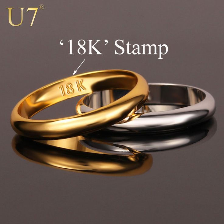 "Gold Rings With ""18K"" Stamp Quality Real Gold Plated Women/Men Jewelry Wholesale Free Shipping Classic Wedding Band Rings R302"