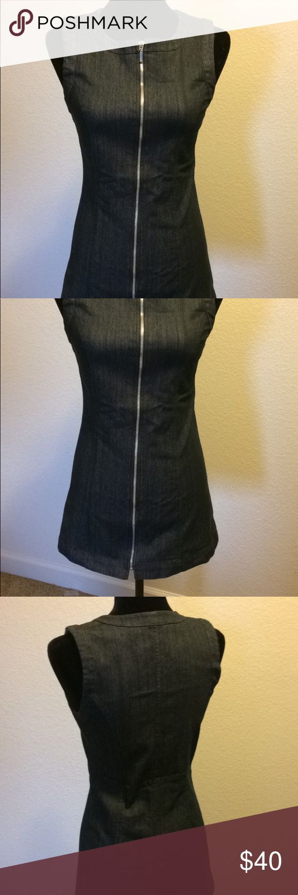 Naf Naf Jean Dress Dark Blue/Grey Denim Jean Dress with zipper down the front. Size European 38 which is a Size 7 in America. Has a little stretch, very form fitting and lays mid thigh. NAF NAF Dresses Midi