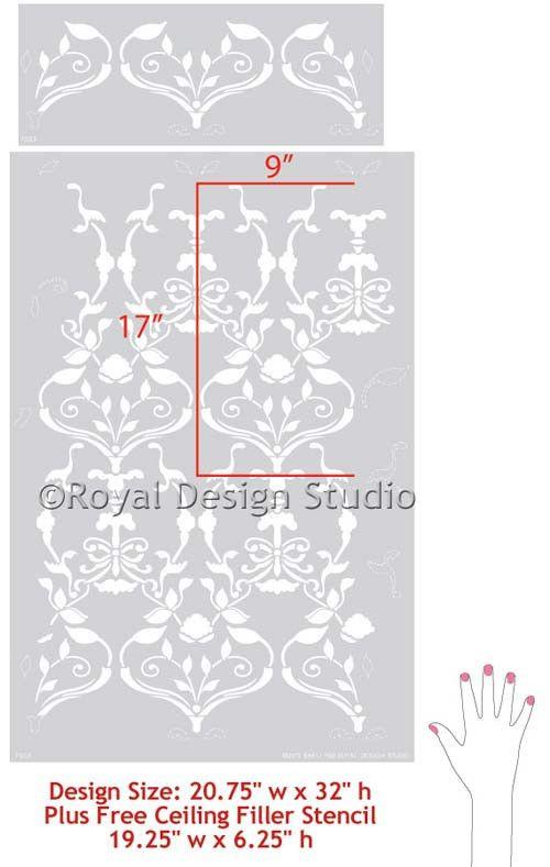 Damask Wall Stencil Splendor by Bari J | Royal Design Studio