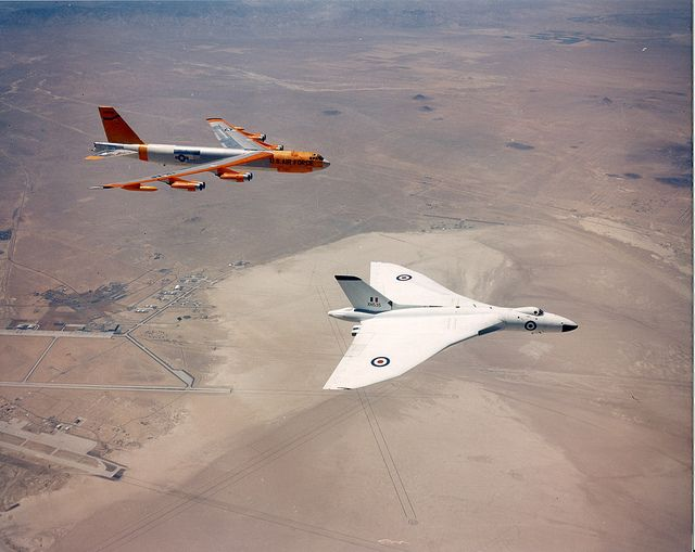 US Air Force Boeing B-52 and a Royal Air Force Avro Vulcan flying over Edwards Air Force Base in California. (Photo via Flickr: Kemon01)