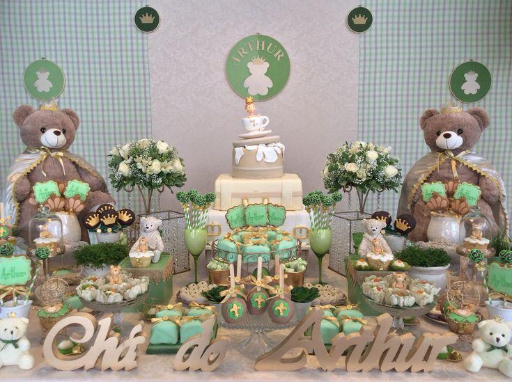 Decoração Chá de Bebê Urso Príncipe Verde!