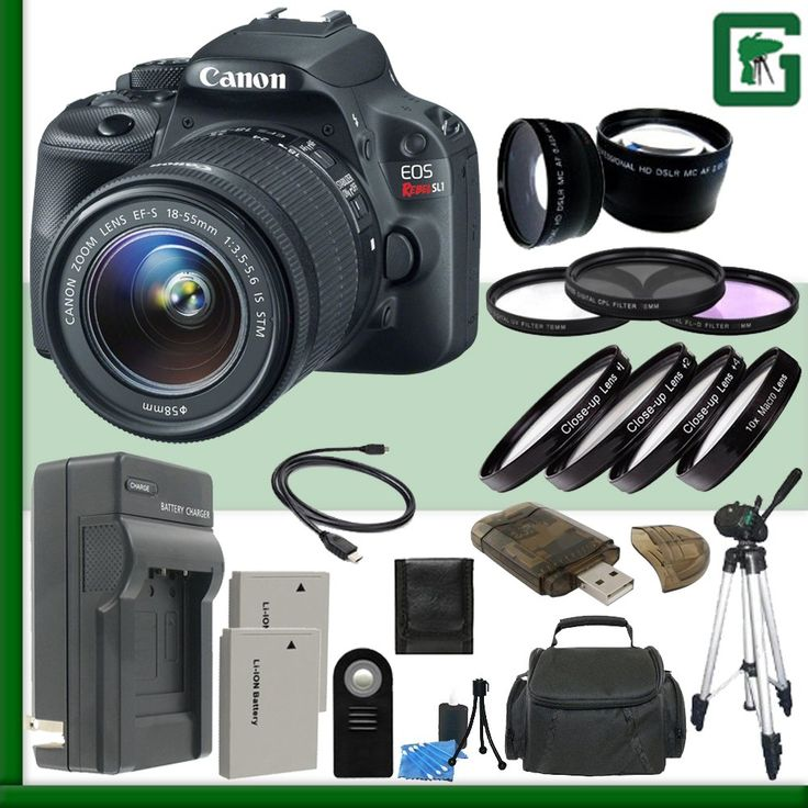 Canon EOS Rebel SL1 Digital SLR Camera Kit with 18-55mm STM Lens Green's Camera Package 4. Package Includes 23 Products - All with USA Warranty and Manufacture Supplied Accessories. 18.0 Megapixel CMOS (APS-C) sensor, ISO 100-12800 (expandable to H: 25600) for stills and ISO 100-6400 (expandable to H: 12800) for videos for shooting from bright to dim light, and high performance DIGIC 5 Image Processor for exceptional image quality and speed. High speed continEOS Full HD Movie mode with…