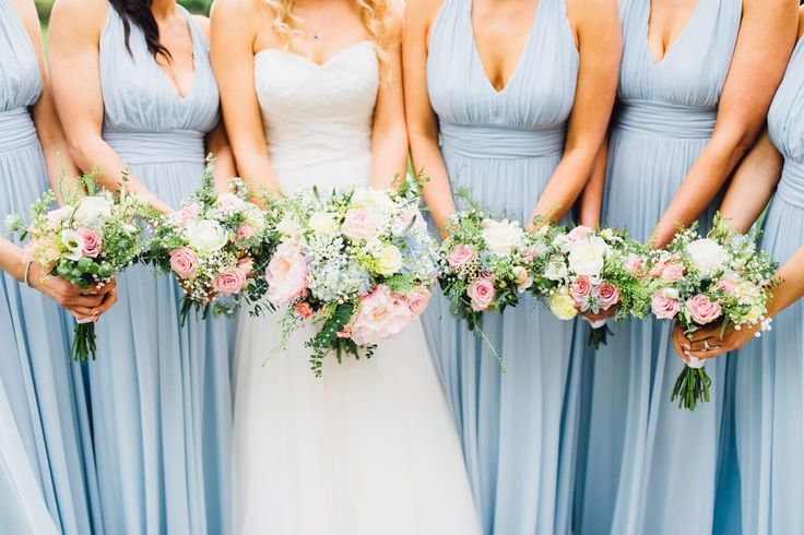 Pastel Bouquets | Holly Collings Photography | Benjamin Roberts Bridal Gown | Pastel Wedding | The Vean Cornwall | Blue ASOS Bridesmaid Dresses