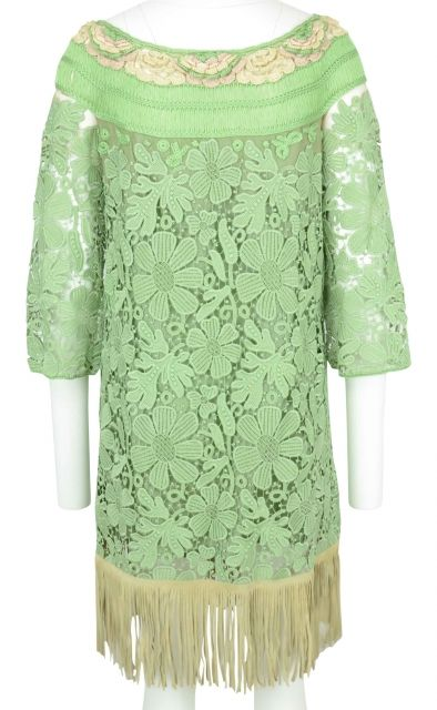 Green Lace Dress with Fringes by Alberta Ferretti