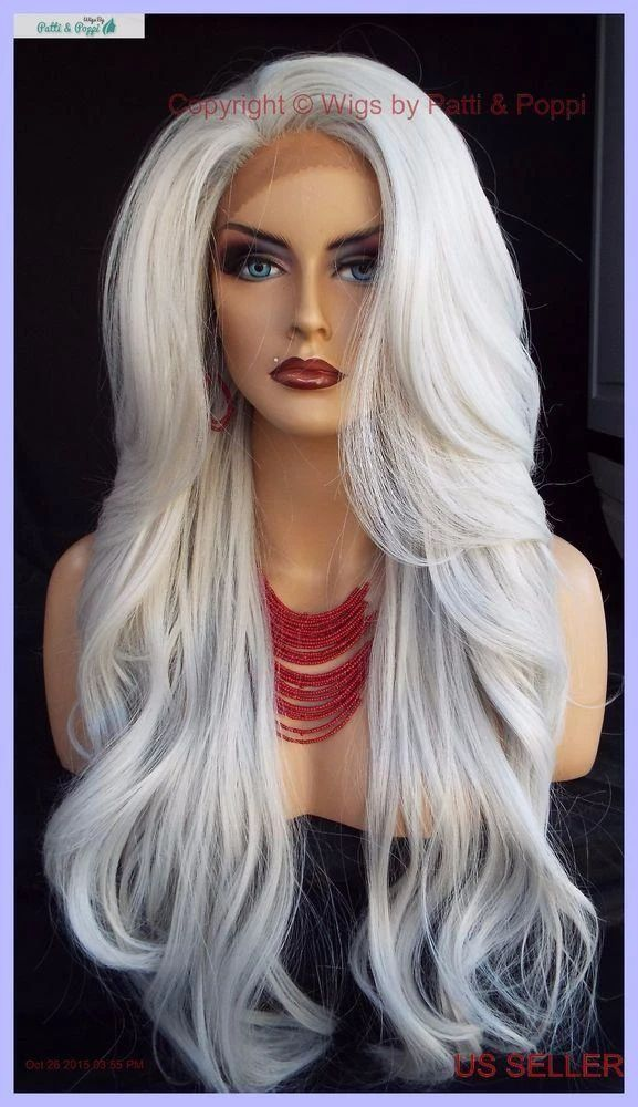 Gray Wigs Lace Frontal Wigs Gray Hair Extensions Human HairLong Gray W – wigbaba