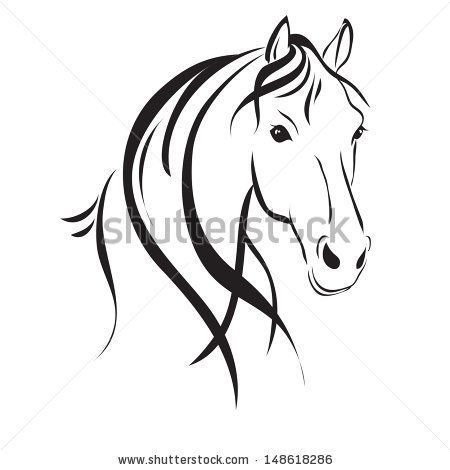 horse head clip art | line drawing of a horse's head | Equine divine ...